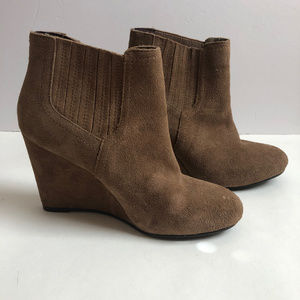 Restricted Brown Suede Wedge Booties size 8
